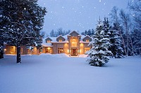 North America, Canada, Ontario, doorway to mansion with Christmas wreath.