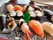Nigiri-sushi and maki-sushi, Amada Carlota Japanese Restaurant, La Cotariella, Cabranes, Asturias, Spain