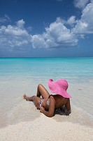 Sunbathe on the beach facing the turquoise water of the Caribbean sea The Nest Antigua and Barbuda Leeward Islands West Indies.