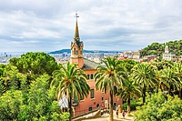 Park Guell, a garden with architectural elements designed by Antoni Gaudi. Built in 1900 - 1914. Part of UNESCO World Heritage. Situated in Barcelona ...