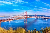 Bridge of 25th April over river Tajo, Lisbon, Portugal.