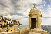 Beach of Sesimbra. The resort is situated in Portugal close to capital Lisbon.