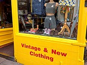 Vintage & New Clothig shop, Walcot Street. Bath. Somerset. England. United Kingdom.