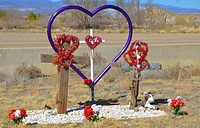 roadside memorial to automobile accident victim. New Mexico.