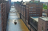 aerial view of the Brookfleet canal in the Speicherstadt (City of Warehouses), HafenCity quarter, Hamburg, Germany, Europe.