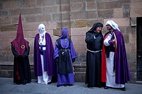 Penitents from different brotherhoods during an Easter Holy Week procession in Astorga, Castilla y Leon, Spain.