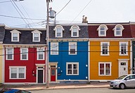 Colourful row houses (Jellybean Row) in downtown St. John´s, Avalon Peninsula, Newfoundland, Canada.