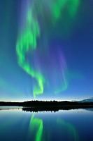 Aurora borealis (Northern Lights) over Prosperous Lake, Prosperous Lake Territorial Park, Yellowknife, Northwest Territories, Canada.