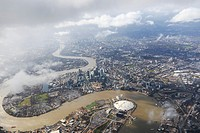 Aerial view of London with the river Thames.