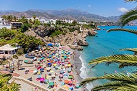 Nerja, Costa del Sol, Malaga Province, Andalusia, southern Spain. View from the Balcon de Europa (or Balcony of Europe) to the Playa Calahonda (Calaho...