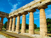 Paestum (Capaccio, SA, Campania, Italy). The temple of Hera also called Basilica (550- 540 b. C. ) is located in the archaeological site of Poseidon, ...