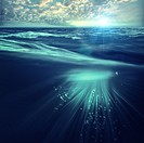 Deep ocean, marine backgrounds with waves and sea surface.