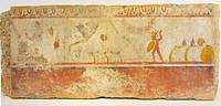 Archaelogical National Museum of Paestum (Capaccio, SA, Cilento, Campania, Italy). Andriuolo Necropolis, Tomb 114 (330-320 b. C. ). Northern slab: Bat...