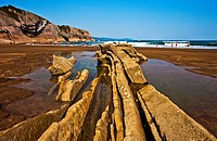 Flysch, Cliff, Itzurun Beach, Zumaia, Bay of Biscay, Cantabrian Sea, Gipuzkoa Province, Basque Country, Spain, Europe.