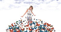 Butterflies fly and they land on the dress of a blond girl in the air suspended in the clouds in a blue sky.
