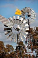 Windpumps on a farm in country Victoria, Australia.