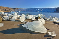 Fragments of ice detached from Fletanes (Qaleragdlit) glacier (Greenland)