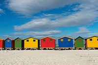 View of colorful beach houses on the beach at Muizenberg near Cape Town, South Africa.