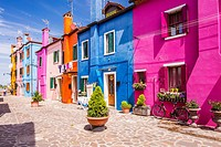 Colored houses in village of Burano near Venice, Veneto, Italy, Europe.