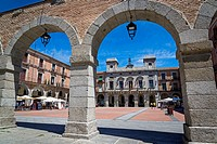 Plaza Mayor, Main square with the Town Hall, Avila, Castilla y Leon, Spain.