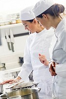 Women working in restaurant kitchen