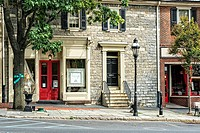 Bethlehem, PA, USA. Beautiful Old Pennsylvania Stone Building, Renovated and thriving in the Historic District.