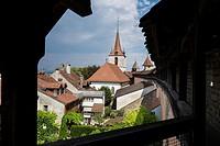 Switzerland, Canton Fribourg, Murten, Morat, view from fortress.