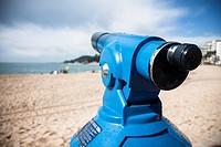Telescope, beach, LLoret de Mar, Girona Province, Spain