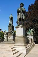 Germany, Worms, Rhine, Upper Rhine, Rhenish Hesse, Rhine-Neckar area, Rhine-Main district, Rhineland-Palatinate, Luther Monument by Ernst Rietschel on...