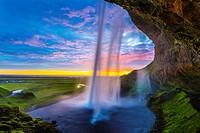 Seljalandsfoss waterfall, midnight sun, Iceland, South West Iceland, Golden Circle tour.