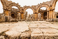 Ruins of the church and pillar Church of Saint Simeon Stylites. Syria.
