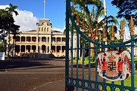 Open Gates Lead to Iolani Palace, the only Royal Palace in the United States.
