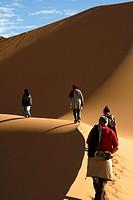 Group of tourists following tuareg in Oued Tin Tarabine. Tassili Ahaggar. Sahara desert. Algeria.
