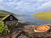 Lake Sorvagsvatn (Leitisvatn), the largest lake of Faroe. The island Vagar, part of the Faroe Islands in the North Atlantic. Europe, Northern Europe, ...