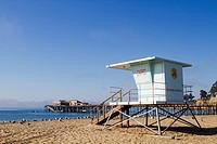 USA, California, Capitola, Beach Lifeguard Station.