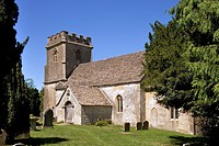 Small rural village church at Daglingworth in the Cotswolds, Gloucestershire, UK.