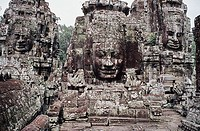 Tower faces of Angkor Thom, Siem Reap, Cambodia, UNESCO World Heritage Site.