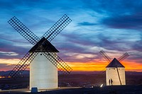 Windmills at sunset. Campo de Criptana, Ciudad Real province, Castilla La Mancha, Spain.