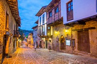 Main street, night view. Santillana del Mar, Cantabria, Spain.