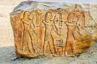 Egypt, Nile Delta, Tanis, exhibition of several ancient artifacts : Procession of fanbearers.