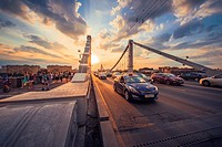 Sunset in the Krymsky Bridge (Moscow).