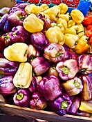 Purple and yellow bell peppers.