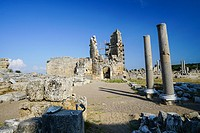 Perge Hellenistic Gate. Old capital of Pamphylia Secunda. Ancient Greece. Asia Minor. Turkey.
