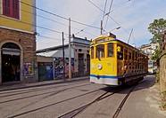 Brazil, City of Rio de Janeiro, The Santa Teresa Tram near Largo do Guimaraes.
