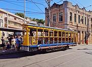 Brazil, City of Rio de Janeiro, The Santa Teresa Tram on Largo dos Guimaraes.