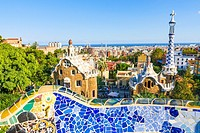 Park Guell by architect Antoni Gaudi in Barcelona, Spain.