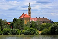 Hungary, Central Hungary, Pest County, Vac, Danube, Danube promenade, Franciscan church and castle.