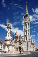 Hungary, Central Hungary, Budapest, Danube, Capital City, castle hill in Buda, Holy Trinity Square, Holy Trinity column, plague column, baroque, Matth...
