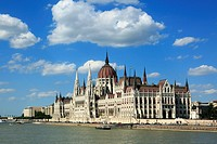 Hungary, Central Hungary, Budapest, Danube, Capital City, Hungarian Parliament, parliament building by Imre Steindl at the Danube bank, Gothic Revival...