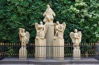 Slovak Republic, Slovakia, Bratislava, Capital City, Danube, Little Carpathians, Primates Palace, courtyard, sculptures group, Saint John of Nepomuk a...